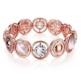 18K Rose Gold Plated Bracelet Covered with Natural Gemstones with Swarovski Elements