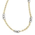 Italian 14k Two-Tone Gold Polished & Textured with 2in ext. Necklace - 18 inches - Thumbnail 0
