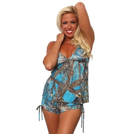 Women's 2-Piece Camo Bikini Blue True Timber Tankini Top & String Shorts Beach Swimwear Swimsuit