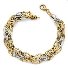 Italian 14k Two-Tone Gold Polished Textured Fancy Bracelet - 8 inches