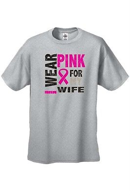 UNISEX T-SHIRT I Wear Pink For My Wife BREAST CANCER SUPPORT PINK RIBBON S-4X 5X