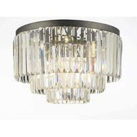 Odeon Empress Crystal Glass Fringe 3-Tier Flush Chandelier Lighting