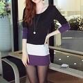 Autumn Winter Women Long Sleeve knit Bodycon Tops Slim Party Sweater Mini Dress - Thumbnail 9