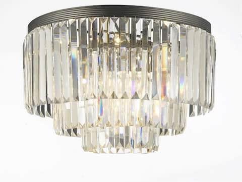 Palladium Empress Crystal Glass Fringe 3-Tier Flush Chandelier
