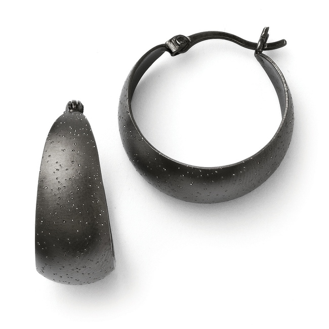 Sterling Silver Black Ruthenium-plated Radiant Essence Hoop Earrings
