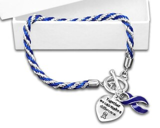 Cancer Awareness Dark Blue Ribbon Bracelet - Rope