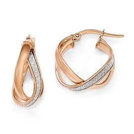 Italian 14k Rose Gold Glimmer Infused Polished Twisted Hoop Earrings