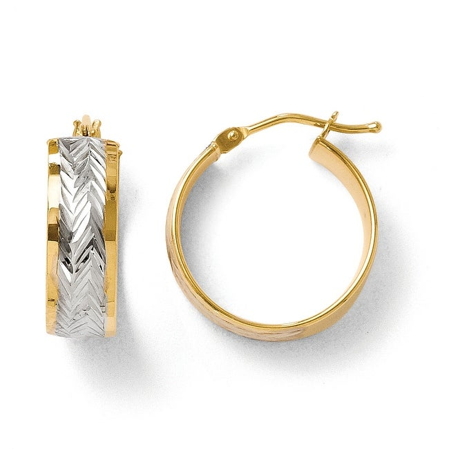 Italian 14k Gold with Rhodium-plated Polished and Diamond Cut Hoop Earrings