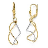 10k Two-Tone Gold Polished Leverback Earrings