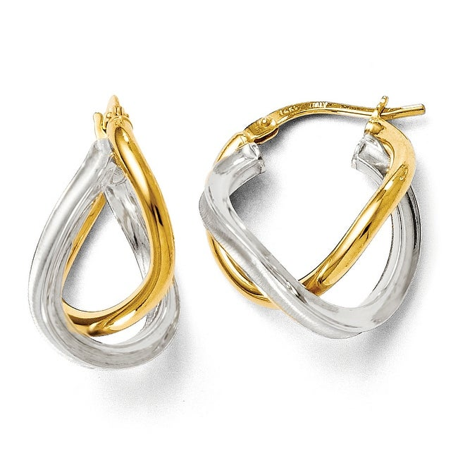 Italian 14k Two-Tone Gold Polished Double Hinged Hoop Earrings