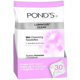 Pond's Clean Wet Cleansing Towelettes, Luminous, 30 Each