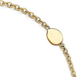 Italian 14k Gold Polished Anklet with 1in ext - 9 inches