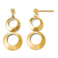 Italian 14k Gold Polished and Scratch Finish Circle Post Dangle Earrings