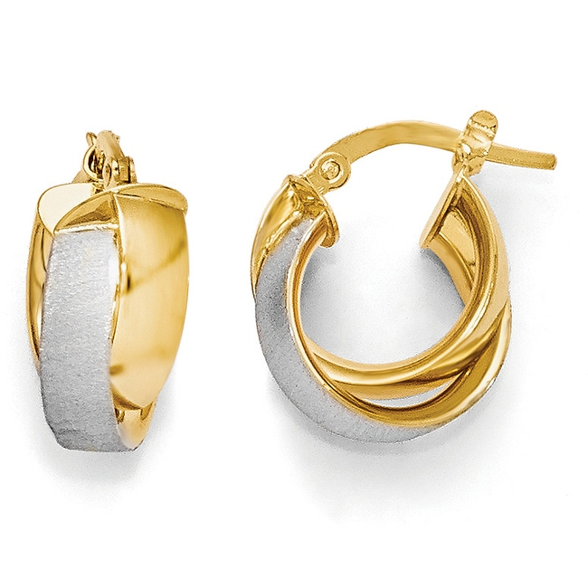 Italian 14k Gold with Rhodium-plated Plated Polished & Textured Hoop Earrings