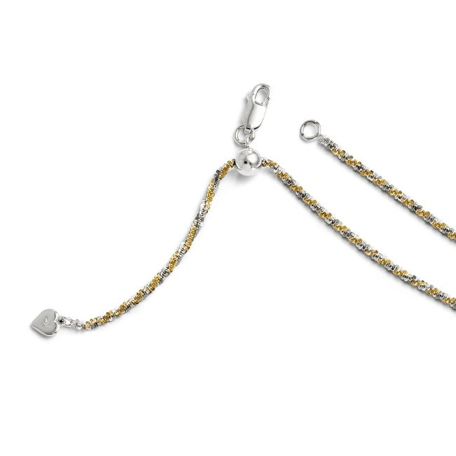 Italian Sterling Silver Gold-plated Adjustable Cyclone Chain - 22 inches