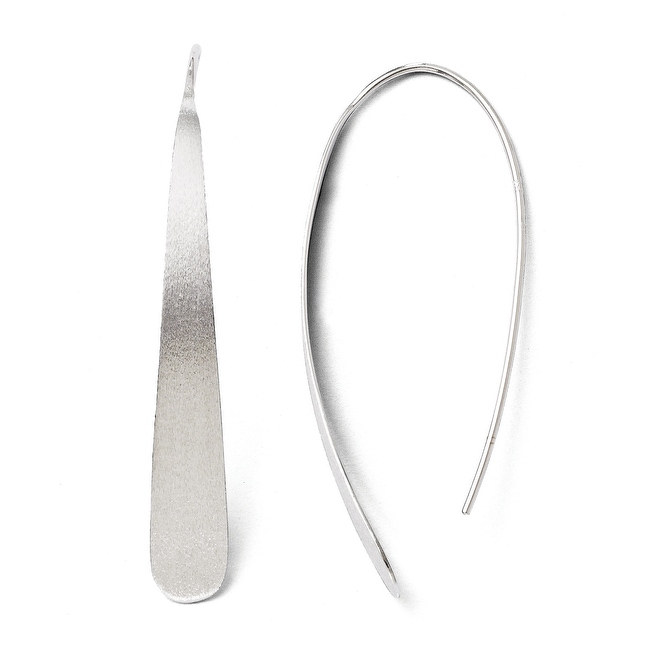 Sterling Silver Rhodium-plated Polished & Brushed Earrings