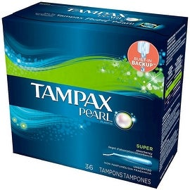 Tampax Pearl Plastic Super Absorbency Tampons, Unscented 36 ea