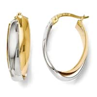 14k Two-Tone Gold Polished Double Oval Hoop Earrings