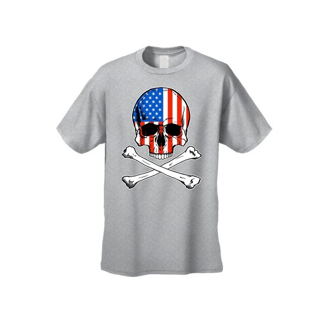 f58da718cf5a Shop Men's T-Shirt USA Flag Skull Crossed Bones American Pride Stars ...