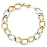 10k Two-Tone Gold Polished and Textured Link Bracelet - 7.5 inches