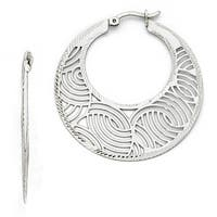 Sterling Silver Fancy Polished Cut-out Large Hoop Earrings