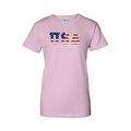 Women's USA Flag Juniors T-Shirt Stars & Stripes American Patriotic Pride Tee - Thumbnail 2