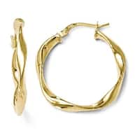 Italian 10k Gold Polished Twisted Hinged Hoop Earrings