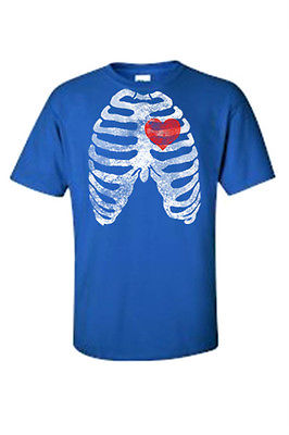 MEN'S FUNNY T-SHIRT Rib Cage With Red Heart Beating SKELETON BODY CHEST BONES