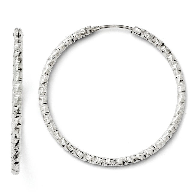 Italian Sterling Silver Diamond Cut Endless Hoop Earrings
