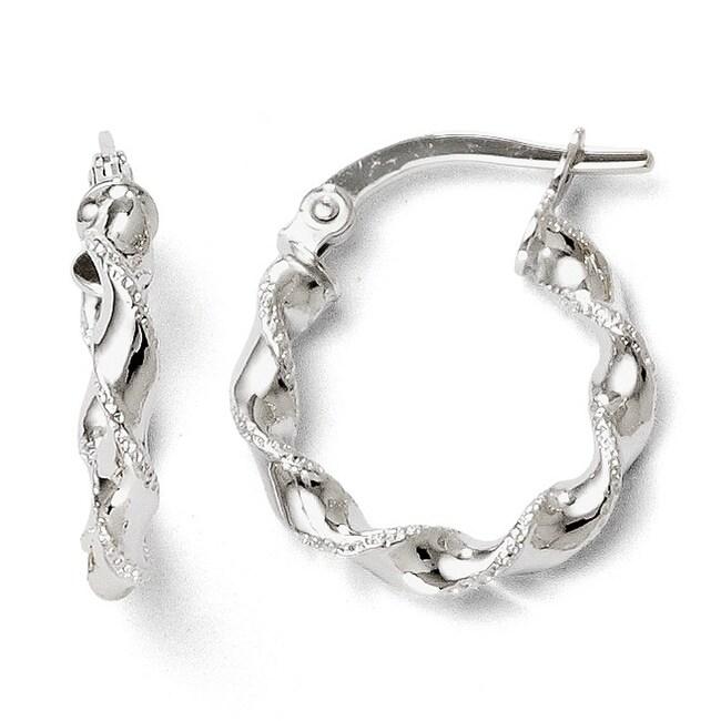 Italian 14k White Gold Twisted Hoop Earrings