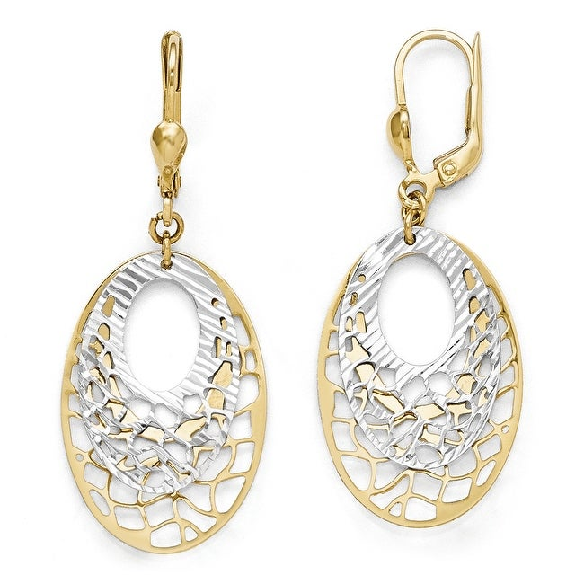 10k Two-Tone Gold Polished and Diamond-cut Leverback Earrings