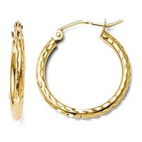14k Gold Diamond Cut Hinged Hoop Earrings