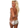 Women's 2-Piece White Beach Bikini True Timber Triangle Top & Basic Bottom Swimwear Swimsuit - Thumbnail 1