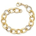 Italian 14k Gold with White Rhodium-plated Polished & Textured Link Bracelet - 8 inches - Thumbnail 0