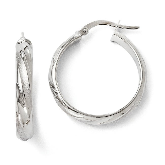 Italian 14k White Gold Polished and Satin Hoop Earrings