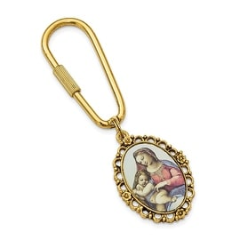 14k Gold IP Mother Mary and Child Enameled Key Fob