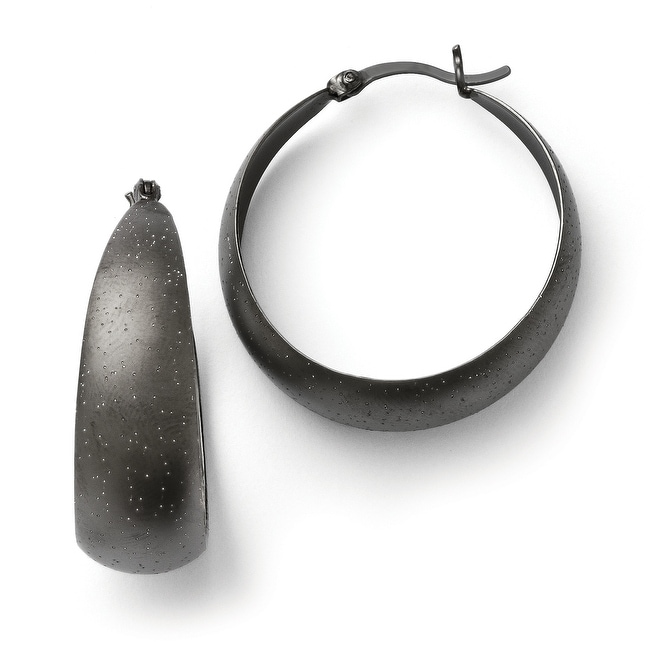 Sterling Silver Ruthenium-plated Radiant Essence Hoop Earrings