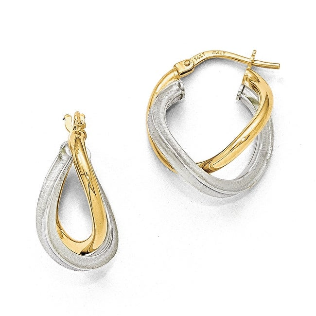 Italian 14k Two-Tone Gold Polished & Textured Hoop Earrings