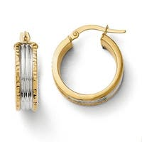 Italian 14k Gold with White Rhodium Hoop Earrings