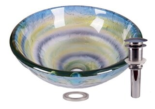 JANO Abstract Element Tempered Glass Bathroom Vessel Basin Sink