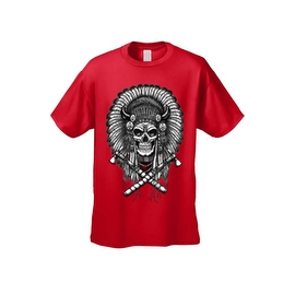Men's T-Shirt Native Warrior Skull Graphic Tee Bones Indian American Axe Tee