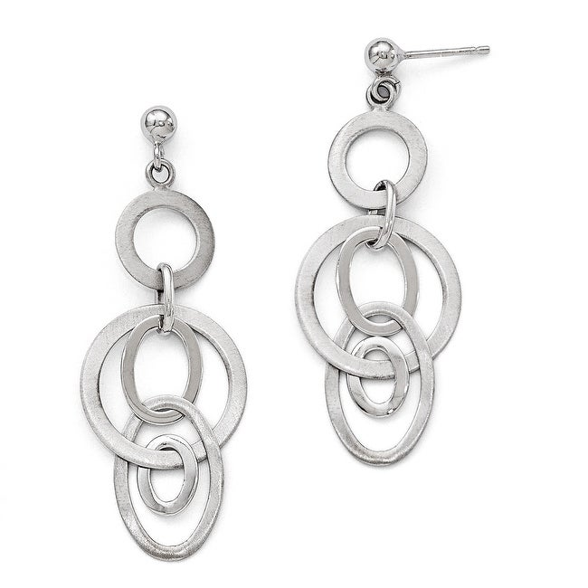 Sterling Silver Polished and Brushed Dangle Earrings