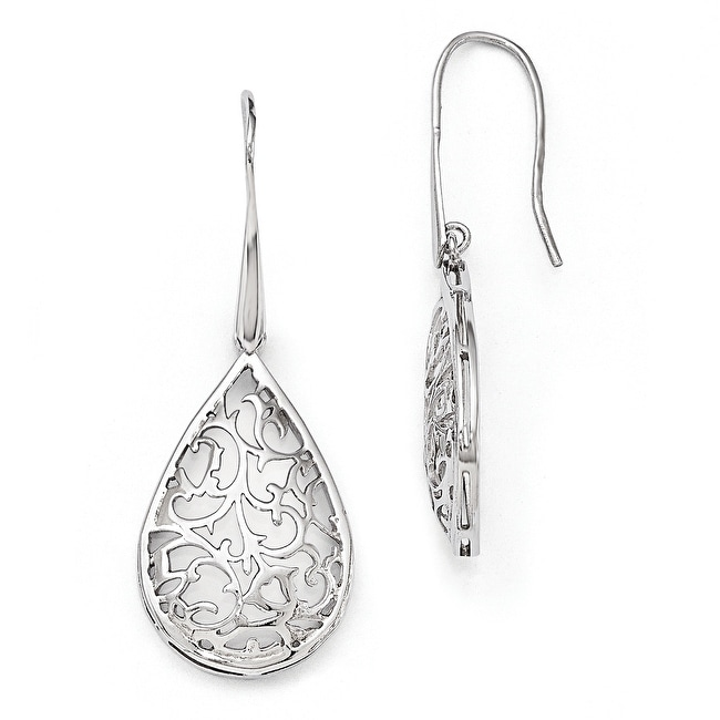 Sterling Silver Polished Cut-out Teardrop Dangle Earrings