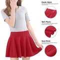 Women's Short Stretch High Waist Plain Skater Flared Pleated Mini Skirt Dresses - Thumbnail 3