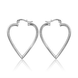 18K White Gold Angular Heart Shaped Hoop Earrings