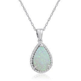 Amanda Rose Created Opal and White Sapphire Pendant Necklace in Sterling Silver
