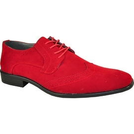 BRAVO Men Dress Shoe KING-3 Wingtip Oxford Shoe Red - Wide Width Available (Option: 15)