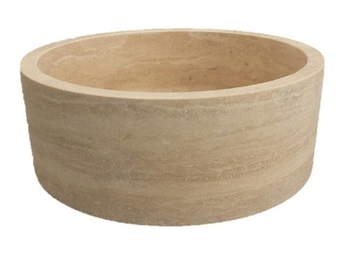Cylindrical Natural Stone Vessel Sink - Light Travertine