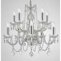 Plug In Empress Crystal Chandelier Lighting With Chrome Sleeves