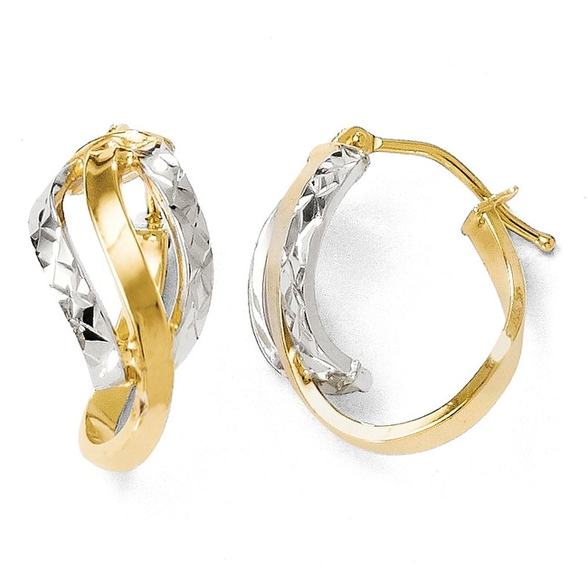 Italian 14k Two-Tone Gold Polished and Diamond Cut Oval Hinged Hoop Earrings